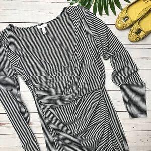 {Leith} sz L black stripe bodycon wrap front dress